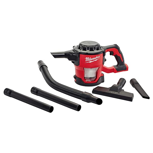 Milwaukee 0882-20 M18 Lithium Ion Cordless Compact 40 CFM Hand Held Vacuum w/ Hose Attachments and Accessories (Batteries Not Included, Power Tool Only) (Color: Red)