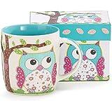 Whimsical Calico Owl Bone China Coffee Mug 14 Ounces with Decorative Gift Box