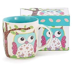 Calico Owl Bone China Coffee Mug Tea Cup 14 Ounces by Burton & Burton