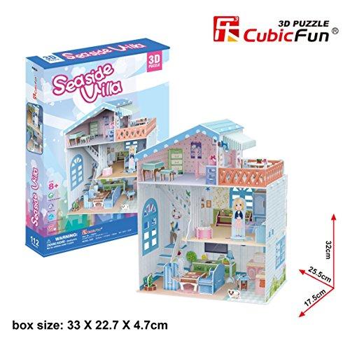 3D Puzzle Dollhouse Seaside Villa CubicFun P683h 112 Pieces Educational Fun for girls Best seller