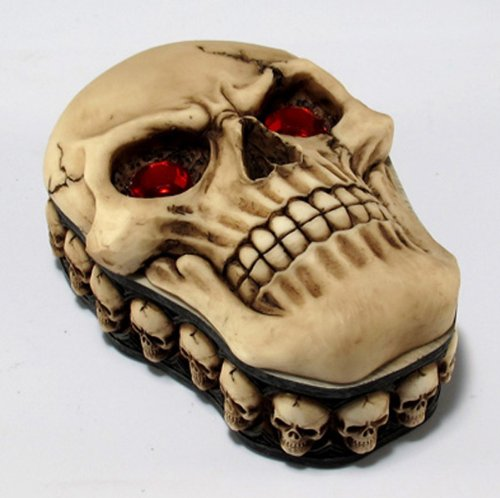 REAPER SKULL TRINKET BOX WITH RED EYES SKELETON GRAVEYARD SKULL FACES RIM