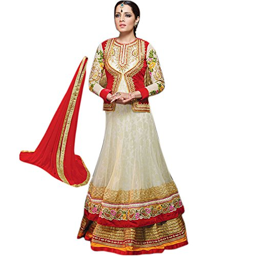 Red Angelnx Women's Unstitched Salwar Suit (Cream Red_Free Size) (Multicolor)