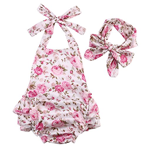 Newborn Baby Girls Halter Cotton Ruffles Romper Backless Sunsuit Jumpsuit Dress (12~18Months, Pink)