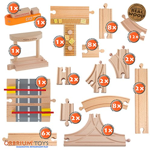 58 Piece Wooden Train Track Expansion Pack Featuring Container Ship, Ship Dock, Train Station, Rail Road Crossing Compatible with Thomas Wooden Railway Brio Chuggington Melissa & Doug Imaginarium Set by Orbrium Toys