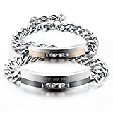 Men,Womens 2 PCS Stainless Steel Bracelet Link Wrist CZ Silver Black Rose Gold Curb Chain Valentine