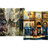 Roundhill 4-Panel Double Sided Painted Canvas Room Divider Screen, Street