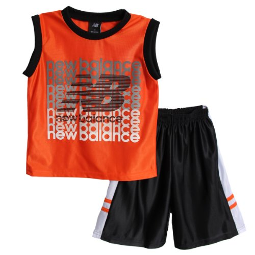 New Balance Kid Boys 2 Piece Orange Athletic Muscle Tank Shirt Black Mesh Shorts front-1028040