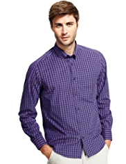 2in Longer Button-Down Collar Easy Care Gingham Checked Shirt