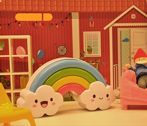 LED Rainbow Night Lamp Sound Voice Control Light for Baby Bedside + Wall Sticker