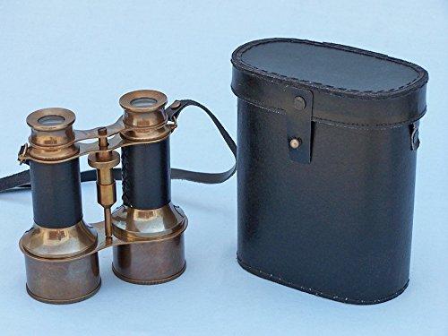 "Antique Brass Binoculars W/ Leather Belt And Leather Case 6"" - Vintage Binoculars"