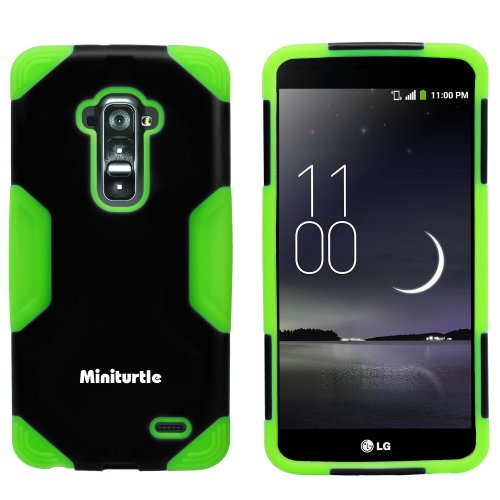 Miniturtle, 2 In 1 Hybrid Curved Shell Casing Hard Phone Case Cover, Stylus Pen, And Clear Lcd Screen Protector Film For Android Smartphone Lg G Flex /T Mobile D959, /At&T D950, /Sprint Ls995 (Black / Green)
