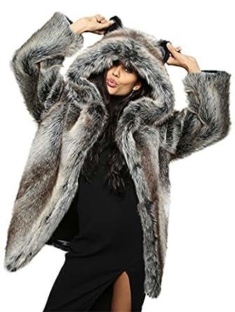 Grey Wolf Faux Fur SpiritHoods Coat at Amazon Men's