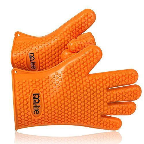 MaxyLife Supreme Silicone Heat-resistant Grilling BBQ Gloves for Barbecue,Oven Baking,Smoking and Cooking, Potholder