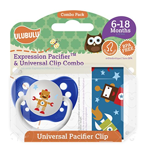 Ulubulu Robot Pacifier with Universal Pacifier Clip, 6-18 months
