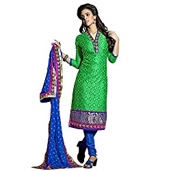 Ethics fashion Green Designer Embroidered Chanderi Dress Material