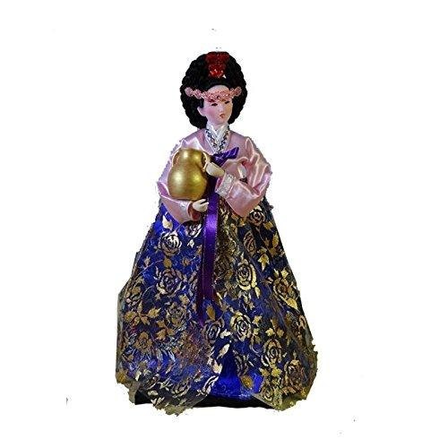[Traditional Korean Costume Girl Belle Standing doll Hanbok Court dress Silk furnishings Korea resteraunt Decor Car/desktop] (Korean Culture Costume)