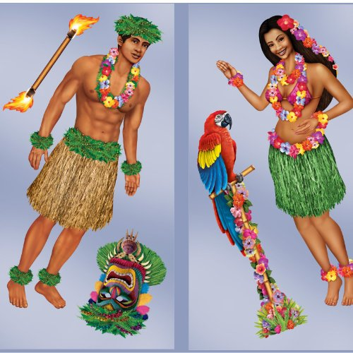 "Beistle 52004 Printed Hula Girl and Polynesian Guy Props, 21"" to 5', 5 Pieces In Package"