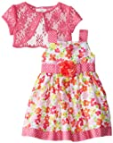 Youngland Girls 2-6X Mixed Print Dress with Bolero