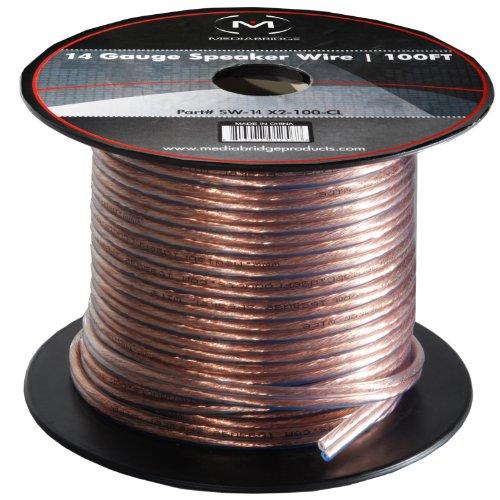 Mediabridge 14Awg Speaker Wire (100 Feet) - Spooled Design With Sequential Foot Markings
