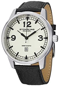 "Stuhrling Original Men's 1129Q.02 ""Aviator"" Stainless Steel Watch with Black Leather Band"