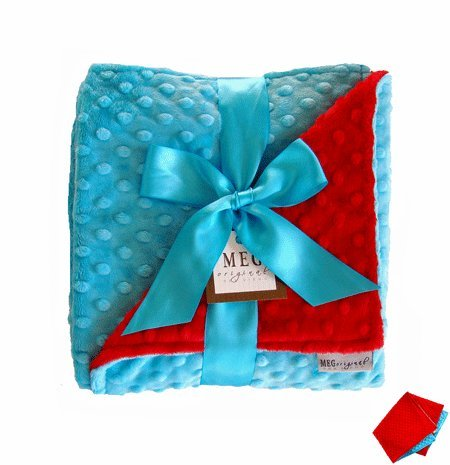 MEG Original Turquoise & Red Minky Dot Baby Blanket