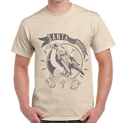 CHEMAGLIETTE! - Maglietta Divertente Uomo T-Shirt Corvo Santa Muerte Crow Raven Mexico, Colore: Sabbia, Taglia: XL