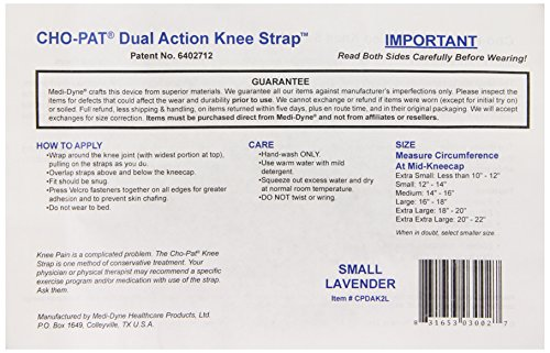Cho-Pat Dual Action Knee Strap, Lavender, Small, 12 Inch-14 Inch