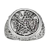Moonlight Mysteries Sterling Silver Large Tetragrammaton Ceremonial Magic Ring Size 6