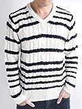 (オークランド) Oakland ケーブル編み Vネック 暖かい ニット セーター 厚手 杢感 オーセンティック カジュアル MODE メンズ ホワイト×ネイビー Lサイズ