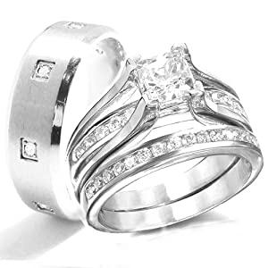 His & Hers 3 Pieces, STERLING SILVER Engagement Wedding Bridal Rings Set, AVAILABLE SIZES men's 7,8,9,10,11,12,13; women's set: 5,6,7,8,9,10. CONTACT US BY EMAIL THROUGH AMAZON WITH SIZES AFTER PURCHASE!