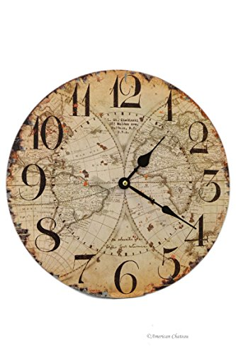 13 Large Wood Rustic Distressed European-Design Antique World Map Wall Clock