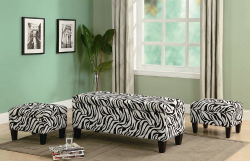 Fantastic 3Pc Storage Bench And Ottomans Set In Zebra Print Jgdjszhfk Machost Co Dining Chair Design Ideas Machostcouk
