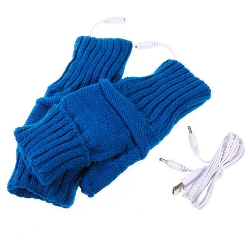 Usb Hands Warmer Electric Heating Fingerless Gloves Blue