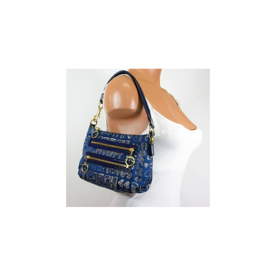 960690f136 Coach Storypatch Small Top Handle Pouch Bag Purse 44088 Jean Blue on ...