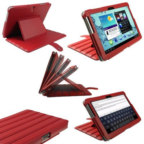 igadgitz Rot 'ArmourDillo' PU Leder Tasche Ledertasche Hülle Schutzhülle Etui Case für Samsung Galaxy Tab 2 P5100 P5110 10.1 Android 4.0 3G Internet Tablet