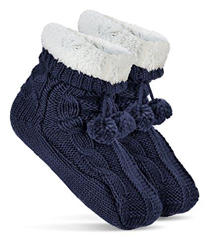 abs-calzini-calzettoni-da-casa-casa-calze-da-donna-con-pompon-blau-taglia-unica
