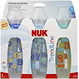 Gerber Nuk Baby Talk Trendline 3 Bottles with Silicone Nipples- Boys Color