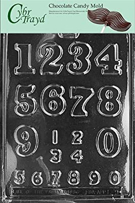 Cybrtrayd L009 Numbers - Large/Small Chocolate Candy Mold with Exclusive Cybrtrayd Copyrighted Chocolate Molding Instructions