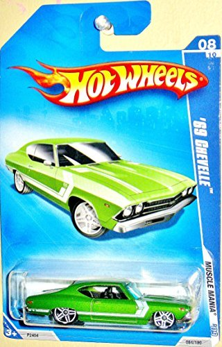 HOT WHEELS 08/10 '09 MUSCLE MANIA '69 CHEVELLE LT GREEN WITH WHITE STRIPE 084/190 - 1