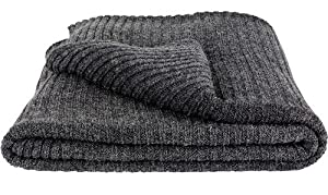 Ikea Fjalltag Knitted Throw, Soft Wool Bland Blanket Dark Gray 51 By 67 Inch Couch Throws