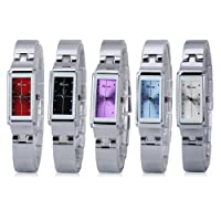 Excelvan? KIMIO Woman Watch Fashion Stainless Steel Bracelet AL35 movement Lady's Wrist Watch With Gift Box (White)