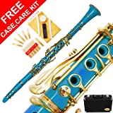 160-SB-N - SEA BLUE/LACQUER Keys Bb B flat Clarinet Lazarro+11 Reeds,Case,Care Kit~24 COLORS Available,CLICK on LISTING to SEE All Colors