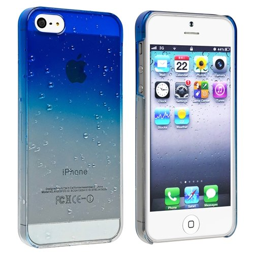 Eforcity Clear Dark Blue Waterdrop Raindrop Hard Case Compatible With Apple Iphone 5