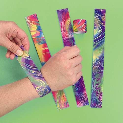12 Tie Dye Slap Bracelets