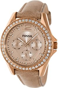 Fossil Women's Riley ES3363 Beige Leather Quartz Watch with Beige Dial