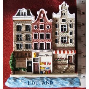 Holland Old Houses Dutch Canal Europe High Quality Resin 3D fridge Refrigerator Thai Magnet Hand Made Craft