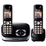 Panasonic KX-TG6522EB DECT Twin Digital Cordless Phone Set with Answer Machine - Blackby Panasonic Phones