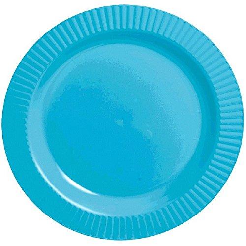 """Amscan Round Premium Plastic Plates, 7 1/2"""", Carribean Blue - 1"""