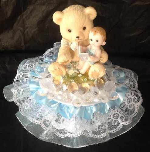 Baby Shower / Birthday Cake Top Centerpiece Boy & Bear With Crystal Like Flowers