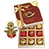 Chocholik Luxury Chocolates - 9pc Legend Wrapped Chocolate Box With Ganesha Idol - Diwali Gifts
